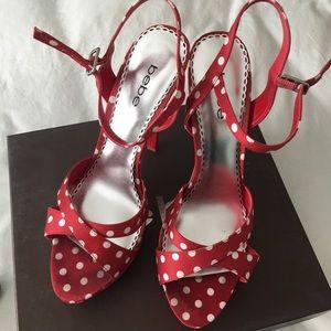 Lizzie Red Wwhite Polka Dot Sandal Size